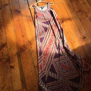 Chaps maxi cotton southwest print dress